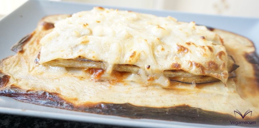 Eggplant, leek and tomato lasagna fresh from the oven