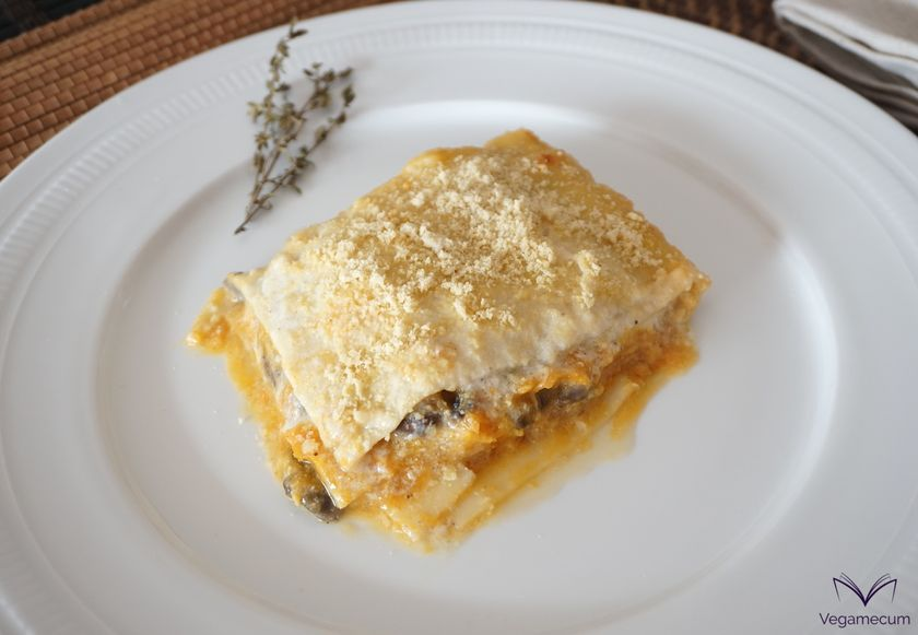 Vegan pumpkin and mushroom lasagna with walnuts