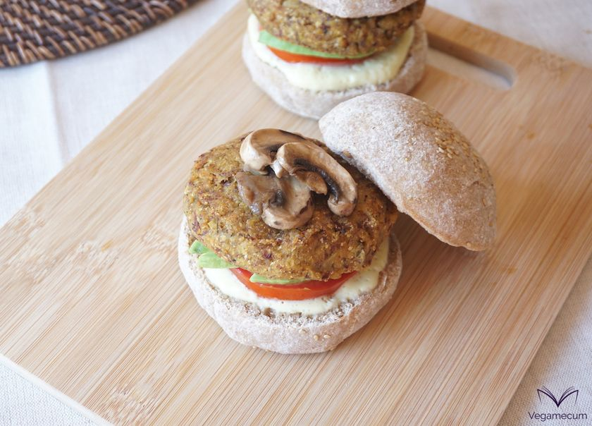 Red bean, eggplant and carrot burgers