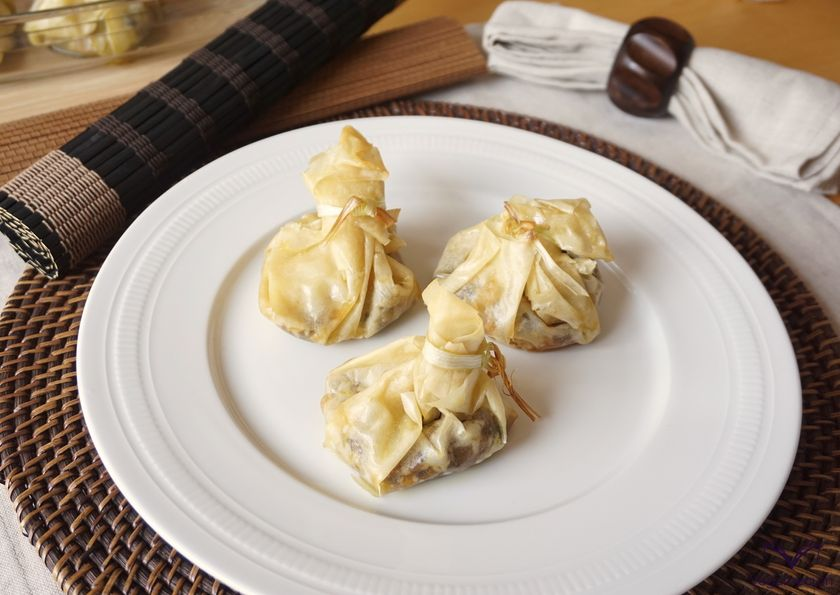 Vegan Blood Sausage and Apple filled Phyllo Sachets