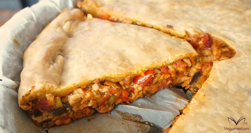 Detail of Vegan Empanada with textured pea, vegetables and mushrooms