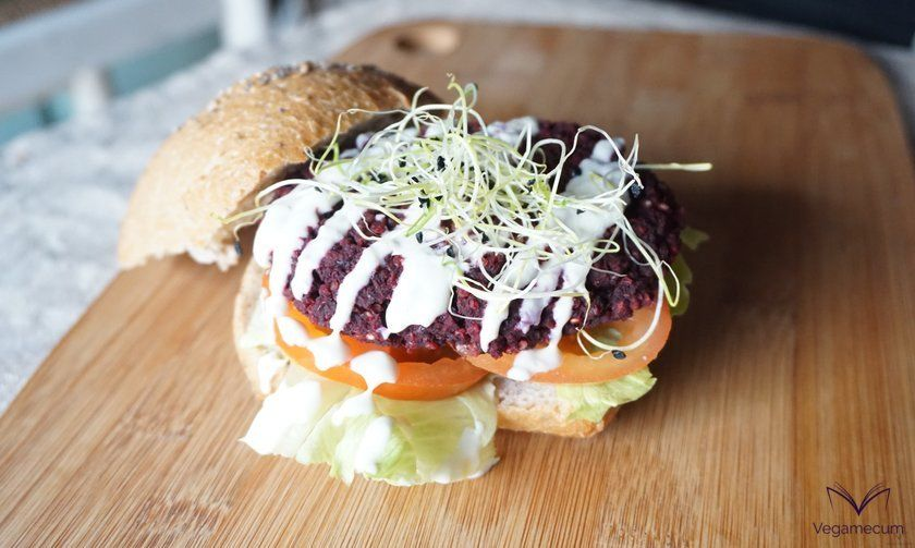 Black Bean and Finished Beet Burger