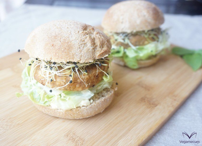 Finished chickpea and dried tomato burgers