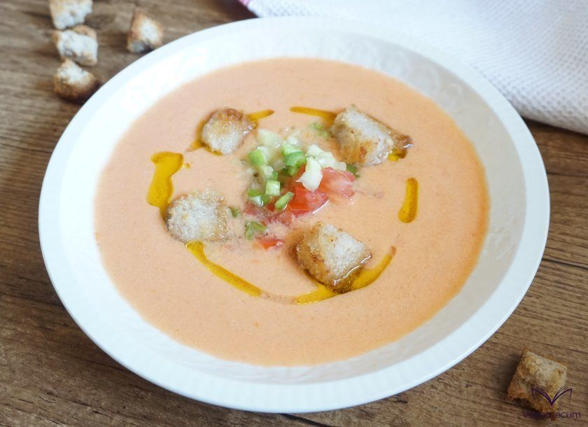 Tomato gazpacho with chopped vegetables and crôutons