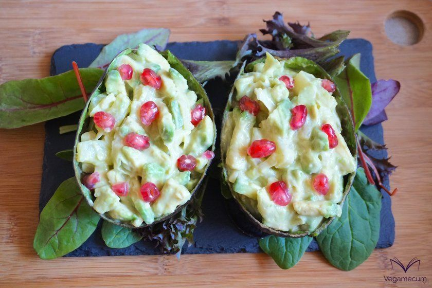 Finished avocados filled with pink sauce