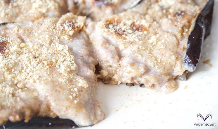 Detalle del relleno de champiñones y nueces
