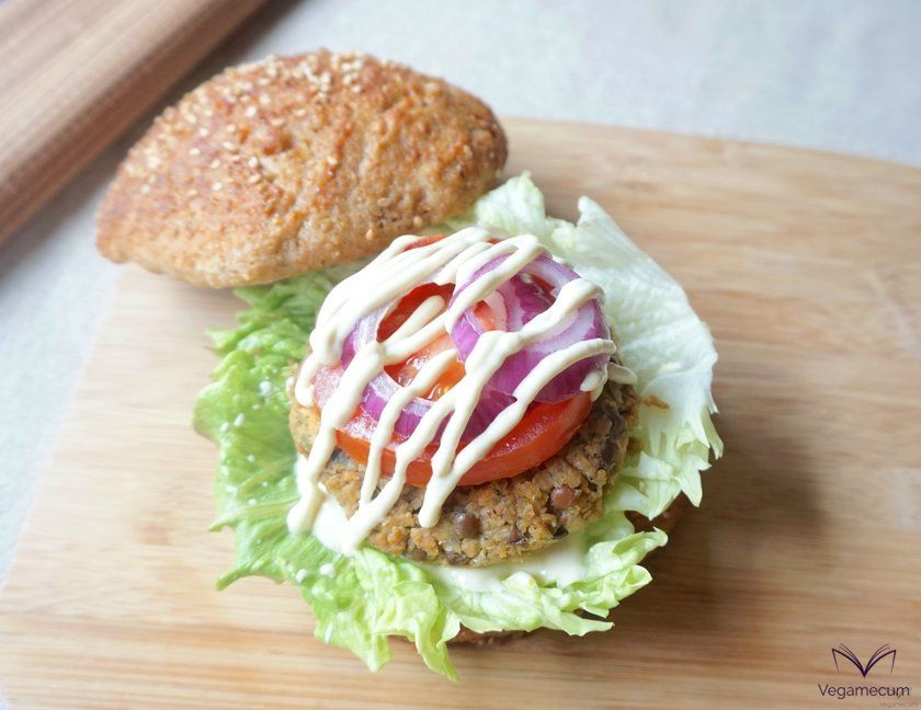 Finished lentil, soy and carrot burgers