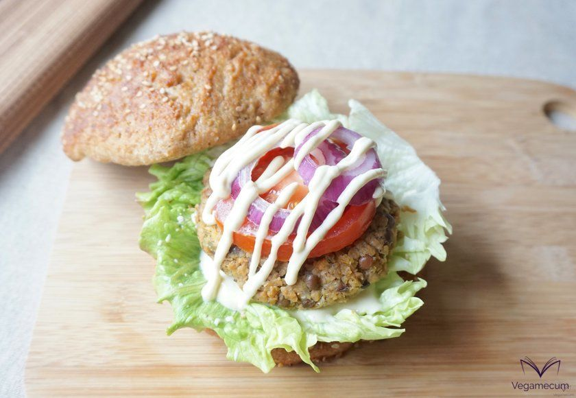Vegan lentil, soy and carrot burgers