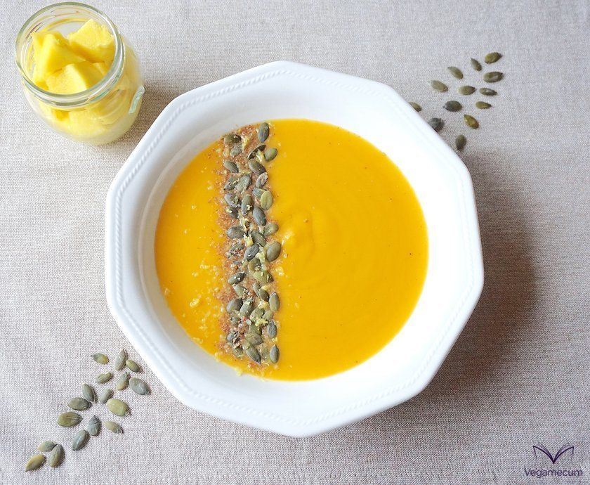 Aerial shot of pumpkin and mango cream