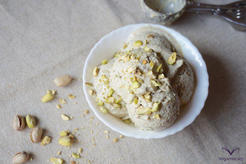 Aerial shot of pistachio ice cream