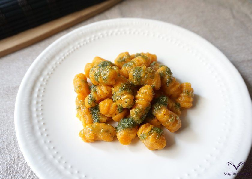 Gluten-free pumpkin gnocchi with pesto alla genovese sauce