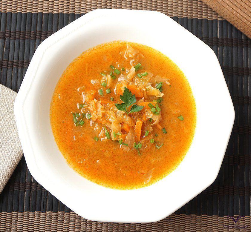 overhead shot of homemade julienne soup
