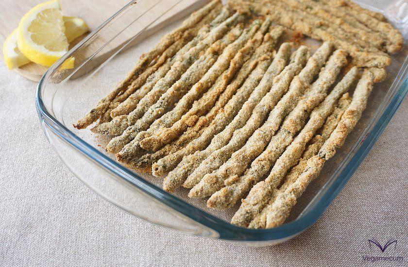 Crispy Asparagus with Vegan Parmesan and Fresh Baked Lemon