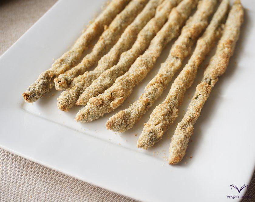 Detail of 'Crispy asparagus with vegan parmesan and lemon'
