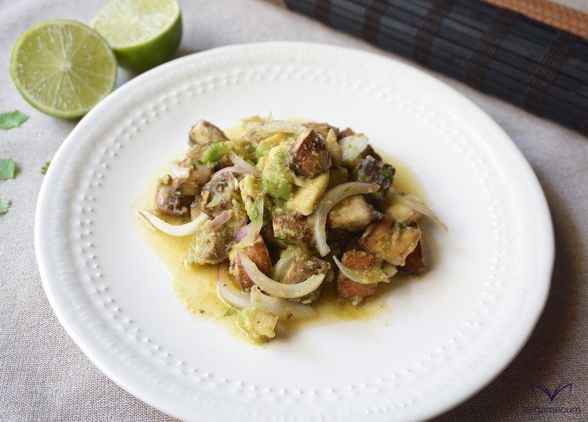 Cebiche vegano de Portobello