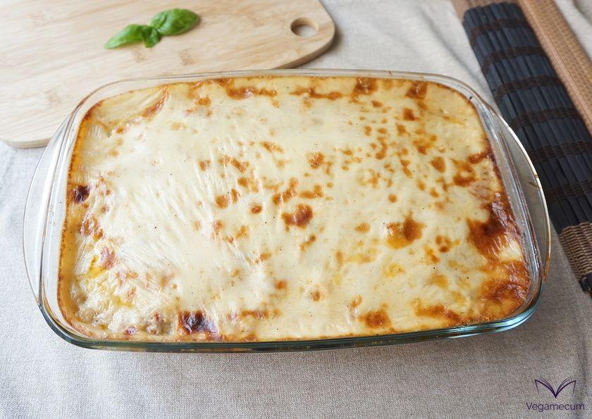 Vegan classic Greek moussaka fresh from the oven