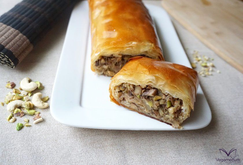 Vegan strudel with mushrooms and nuts